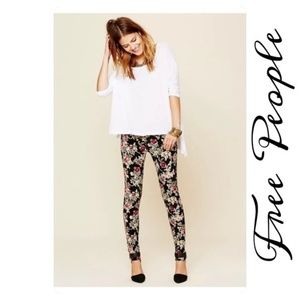 Free People floral corduroy skinny pants 27